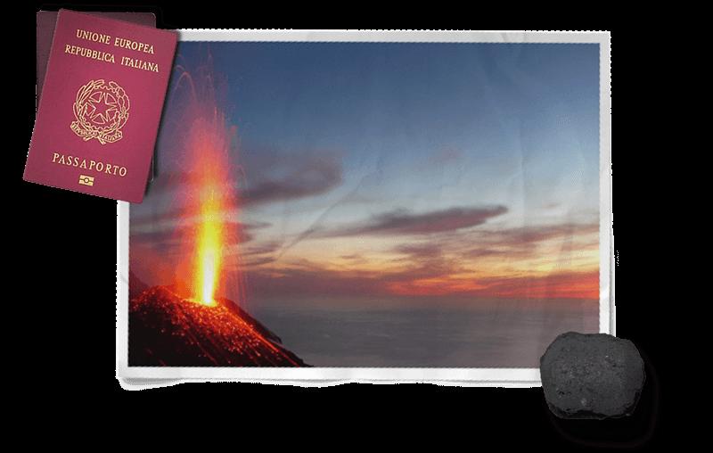 foto del vulcano Stromboli